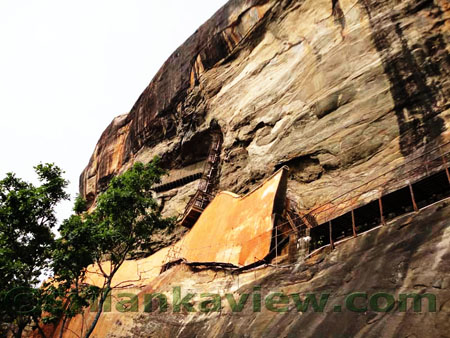 Sigiriya Rock Face of Mirror wall and Frescoes