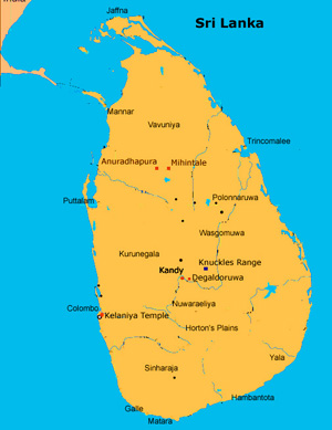 Sri lanka map with towns