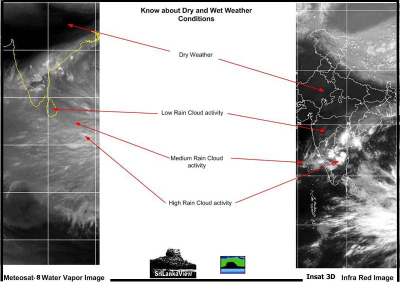 Key to Meteosat WV and Kalpana-1 IR Images